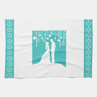 Aqua & White Bride and Groom Wedding Silhouettes Tea Towel
