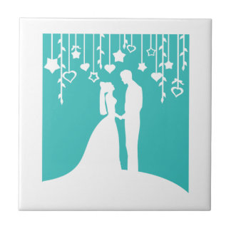 Aqua & White Bride and Groom Wedding Silhouettes Tile