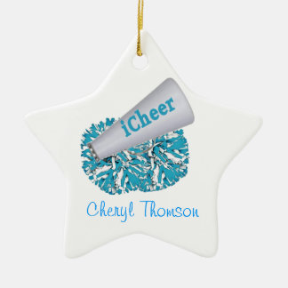 Aqua & White Cheerleader Star Ornament