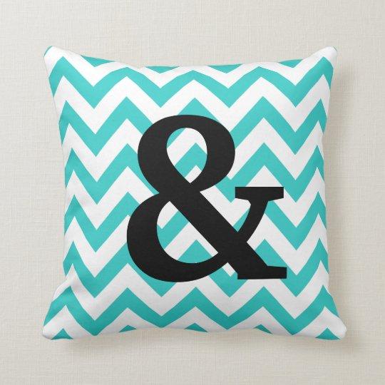 Aqua & White Chevron Ampersand Pillow