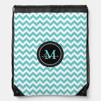 Aqua White Chevron Pattern | Monogram Drawstring Bag