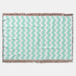 Aqua White Chevron Pattern Throw Blanket