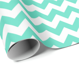Aqua & white chevrons wrapping paper