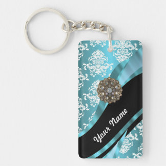 Aqua & white damask with faux crystal gem key ring
