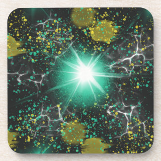 Aqua White Fantasy Space Star Abstract Art Design Coaster