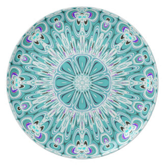 Aqua White Fractal Design Plate
