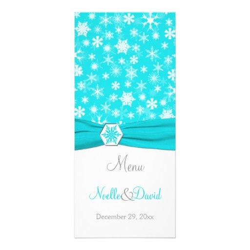 Aqua, White, Gray Snowflakes Menu Card Rack Cards
