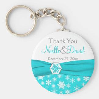 Aqua, White, Grey Snowflake Thank You Key Chain