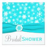 Aqua, White, Grey Snowflakes Bridal Shower Invite