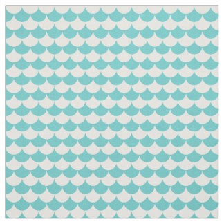 Aqua White Pattern Scales Fabric
