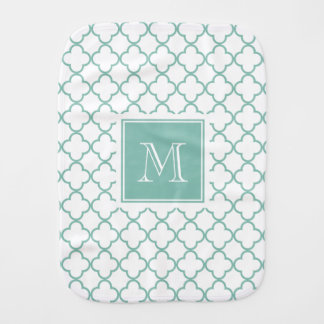 Aqua White Quatrefoil | Your Monogram Burp Cloth