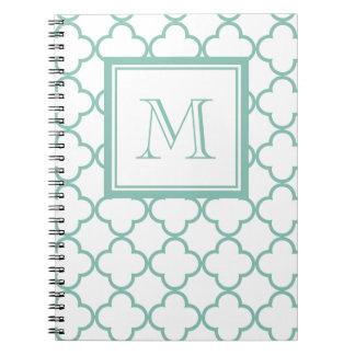 Aqua White Quatrefoil | Your Monogram Spiral Notebook