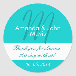 Aqua White Simple Initial Wedding Favor Thank You Round Sticker