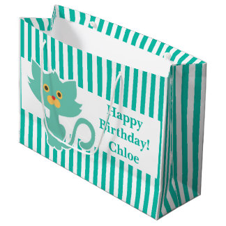 Aqua-White Stripe•Cat•Custom Large Gift Bag