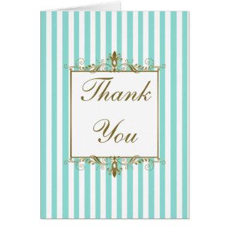 Aqua, White Stripes Gold Scrolls Thank You Card