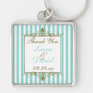 Aqua, White Stripes Gold Scrolls Wedding Favor Silver-Colored Square Key Ring