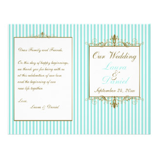 Aqua, White Stripes Gold Scrolls Wedding Program 21.5 Cm X 28 Cm Flyer