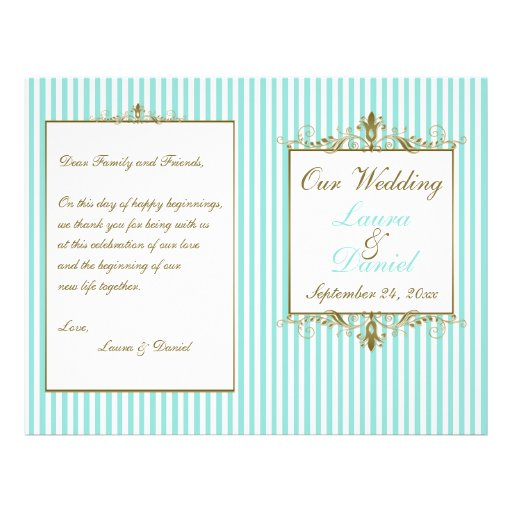 Aqua, White Stripes Gold Scrolls Wedding Program Flyer