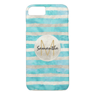 Aqua White Watercolor Stripes Monogram iPhone 8/7 Case
