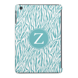 Aqua White Zebra Print Monogram iPad Mini Cover