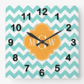 Aqua Wht Chevron Cantaloupe Quatrefoil 3 Monogram Clocks
