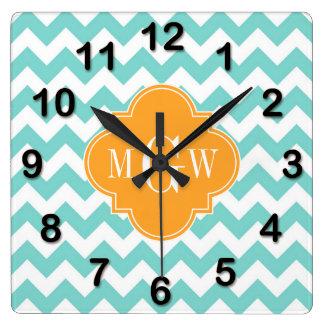 Aqua Wht Chevron Cantaloupe Quatrefoil 3 Monogram Square Wall Clock