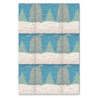 Aqua Winter Holiday Tissue Paper