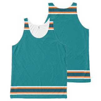 Aqua with Orange and White Trim All-Over Print Tank Top