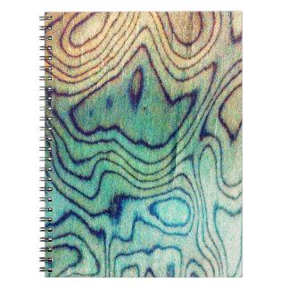 Aqua Wood Spiral Notebook