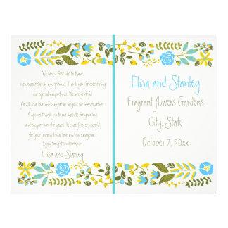 Aqua, yellow floral border wedding program 21.5 cm x 28 cm flyer