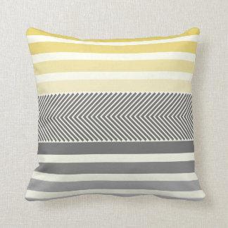 Aqua Yellow Gray Reversible Arrow Herringbone Cushion