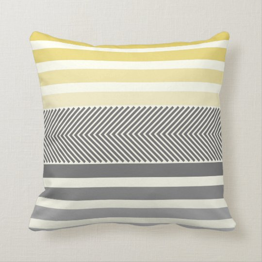 Aqua Yellow Grey Reversible Arrow Herringbone Throw Pillow