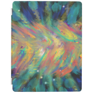 Aqua Yellow Orange Flames Abstract Art Design iPad Cover