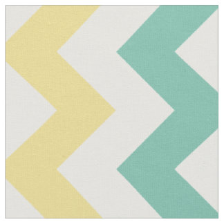 Aqua, Yellow, White Chevron Stripe Fabric