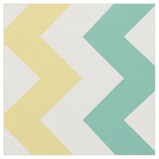 Aqua, Yellow, White Chevron Stripe Fabric