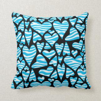 Aqua Zebra Print Hearts Throw Pillows