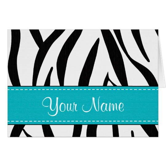 Aqua Zebra Print Note Cards Personalised
