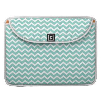 Aqua Zig Zag Chevrons Pattern Sleeves For MacBooks