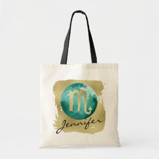 Aqua Zodiac Sign Scorpio on Gold Background Tote Bag