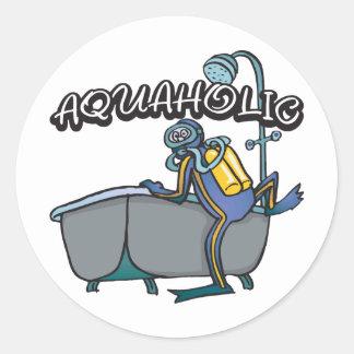 Aquaholic SCUBA Classic Round Sticker