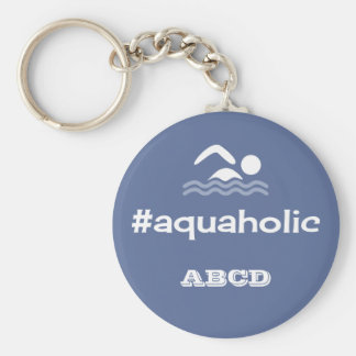 Aquaholic swimming slogan personalised initials basic round button key ring
