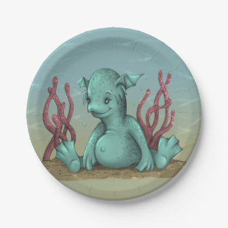 "AQUALION ALIEN MONSTER CARTOON  Paper Plates 7"" 7 Inch Paper Plate"
