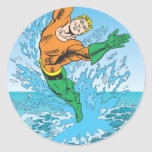 Aquaman Jumps Out of Sea Round Stickers