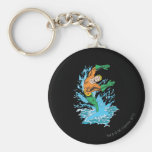 Aquaman Leaps in Wave Basic Round Button Key Ring