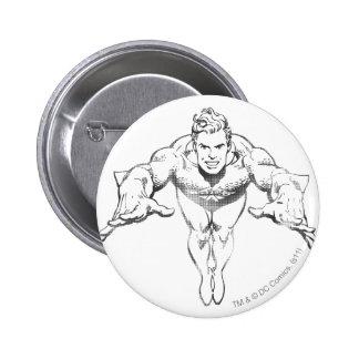 Aquaman Lunging Forward BW 6 Cm Round Badge