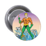 Aquaman Stands With Spear 6 Cm Round Badge