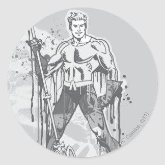 Aquaman - Twisted Innocence BW Classic Round Sticker