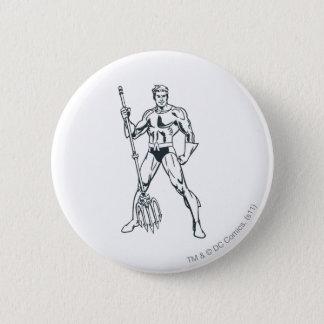 Aquaman with Pitchfork BW 6 Cm Round Badge