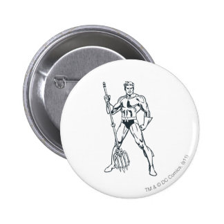Aquaman with Pitchfork BW 6 Cm Round Badge