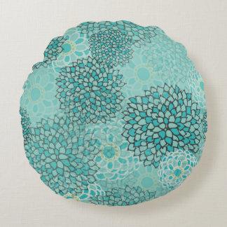 Aquamarine and Mint Flower Burst Design Round Cushion